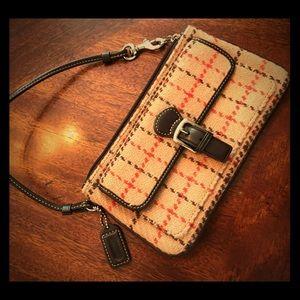 Vintage Coach Plaid Wool Wristlet